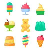 iconos surtidos de comida dulce de verano vector