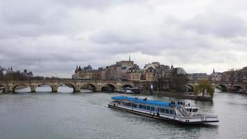 View of the Seine from Pont des Arts Paris France photo
