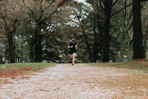Young man training in the park photo