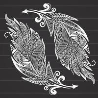 Boceto dibujado a mano ornamental de plumas ilustración vectorial con adorno en la pizarra vector