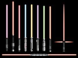 Light swords set. Futuristic melee sci fi Weapon, cosmic shiny neon fighting instrument, vector illustration