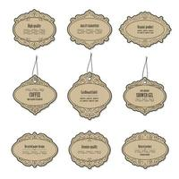 Vintage cardboard labels isolated on white vector