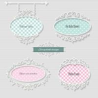 Cute oval frames and signboard vector