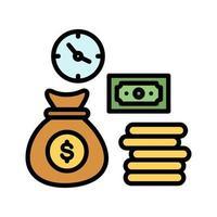 el tiempo es dinero icono vector