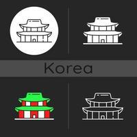 icono de tema oscuro del palacio gyeongbok vector