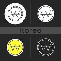 icono de tema oscuro ganó coreano vector