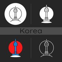 N Seoul tower dark theme icon vector
