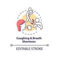 icono de concepto de tos y dificultad para respirar vector