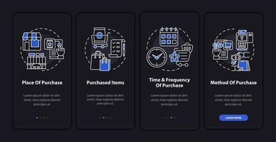 Consumer behavior patterns onboarding mobile app page screen with concepts vector
