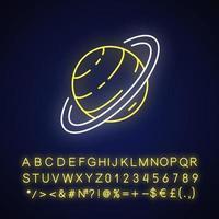 Saturn neon light icon vector