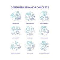 Consumer behavior concept icons set vector