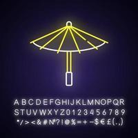 Korean umbrella neon light icon vector