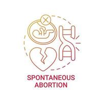 Spontaneous abortion red gradient concept icon vector