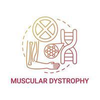 distrofia muscular rojo degradado concepto icono vector