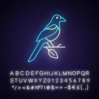 Oriental magpie neon light icon vector