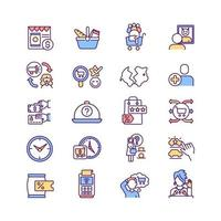 Consumer experience RGB color icons set vector