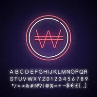 icono de luz de neón ganó coreano vector