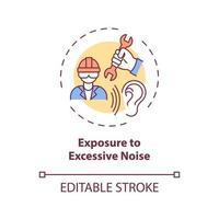 Exposición al icono de concepto de ruido excesivo vector