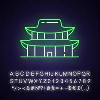 icono de luz de neón del palacio gyeongbok vector