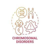 Chromosomal disorders red gradient concept icon vector