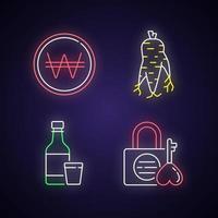 conjunto de iconos de luz de neón de corea vector