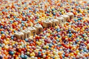Colorful balls with Lets dance written on dices photo