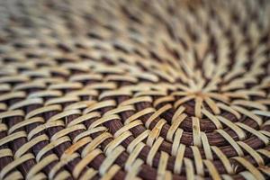 Spiral wicker stand closeup photo of kitchen mat