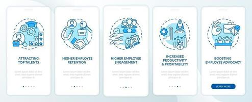 Corporate culture benefits onboarding mobile app page screen with concepts vector