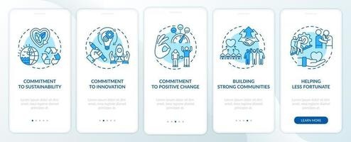 Company core morals onboarding mobile app page screen with concepts vector