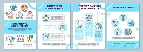 Corporate core values brochure template vector