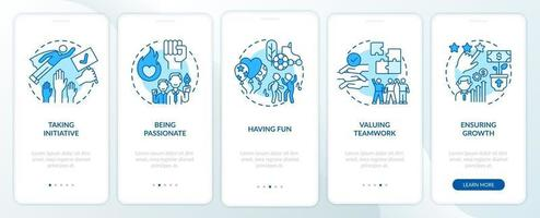 Main company core values onboarding mobile app page screen with concepts vector