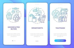 Consumers types onboarding mobile app page screen with concepts vector