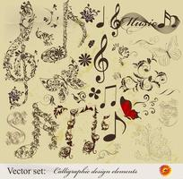 Calligraphic design elements and page decoration with music notes vector