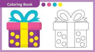 Coloring Book Gift Box vector