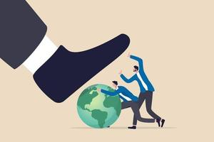 ESG Environmental social and corporate governance protect the world or sustainability and responsibility concept people corporate men together help protect the wold from bad guy destroying stomp vector