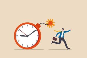 Time management project deadline countdown or problem or trouble to deliver or launch product concept fearful businessman running away from detonated time countdown bomb about to explode vector