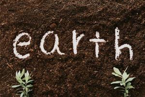 Background of soil with the word earth photo