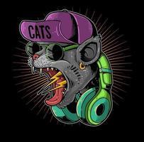 screaming cat headphone vector
