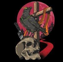 Ilustración de cuervo de cráneo vector