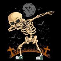 skeleton dabbing dance vector