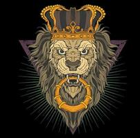 lion head with crown vector