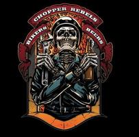 motorcycle club with skull man vector
