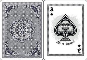 skull with ace spades playing card vector