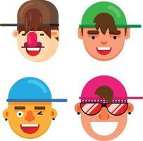 Set of four flat design fashionable boys face vector