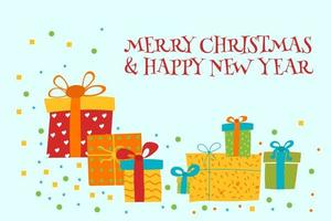 Merry Christmas and Happy New Year Greeting card with gift boxes Vector Illustration