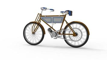 Old ashioned unique bicycle with added engine video
