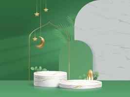 3d Islam Marbel Podium Product Display Green Background with Crescent Moon Lantern Leaf vector