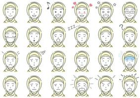 Moslem Businesswoman Vector Various Facial Expressions Set Isolated On A White Background