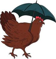 hen with umbrella cartoon perfect for design project vector