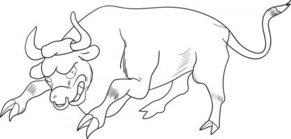 outline smiling bull cartoon perfect for coloring page vector